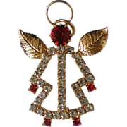 Holiday Angel Pin / Pendant with Golden Wings
