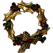 Brass Holly Wreath Pin with Red & Green Rhinestones