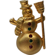 Tie Tack Pin Snowman with Red & Green Buttons