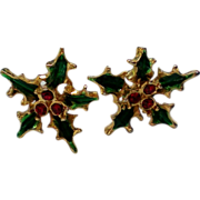 Holly Leaves & Berries Earrings for Christmas Holidays