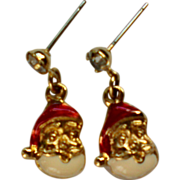 Miniature Santa Pierced Earrings for Christmas / Holidays