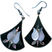 Mexican Silver Abalone MOP Shell Pierced Earrings