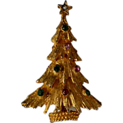 Gold tone Christmas Tree Pin with Rhinestone Accents
