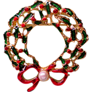 Red and Green Holly Wreath Pin with faux Pearl