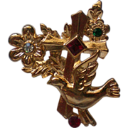 Gold tone Cross with Dove and Flowers