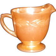 Peach Lustre Laurel Pattern Fire King Creamer