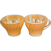 Fire King Anchor Hocking Swirl Pattern Peach Cups