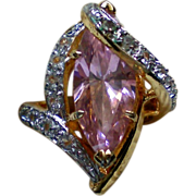 Pink Quartz Cocktail Ring – Size 6