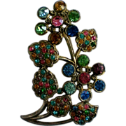 Art Nuevo Pot Metal Colored Rhinestone Floral Brooch
