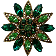 Signed Weiss Green Filigree Brooch
