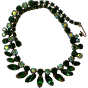 Regency Jewels Green Aurora Borealis Rhinestone Necklace