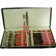 Vintage BAKELITE Kitchenware Flatware Hors D'Oeuvres Set, Service for 12