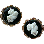 Petite Screw Back Cameo Earrings