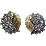 Trifari Golden Leaves Rhinestone Clip Earrings