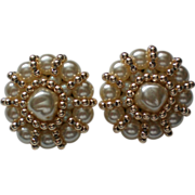 Large FAZIO faux Pearl Clip Earrings