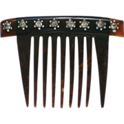 Small Cellulose Comb with Rhinestone Accents