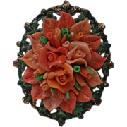 Copper Mounted Molded Celluloid Coral Roses Pin / Pendant