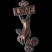 Fabulous Signed Ronnie Livia Dangle Love Brooch