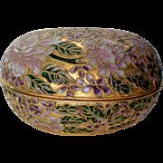 Cloisonne Flower Egg Trinket Dresser or Jewelry Box