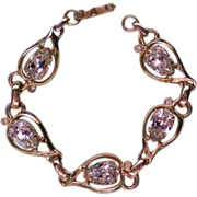 Fabulous Signed Kramer Rhinestone Station Bracelet