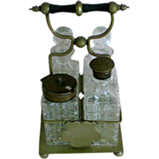 Glass Cruet Set with Brass Caster and Tops