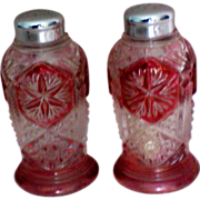 Ruby Flashed Salt and Pepper Shakers with Metal Tops