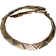 Egyptian Revival Polished and Brushed Gold tone Collar Necklace