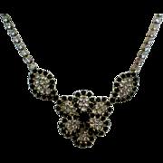 Black & Clear Rhinestone Flower Necklace