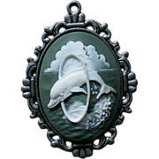 Playful Dolphin Molded Cameo Pendant
