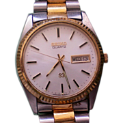 Seiko Two Tone Stainless Steel Mans Quartz Date Watch
