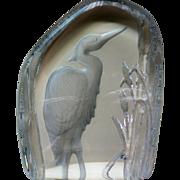 Crystal Sulfide Heron Bird Glass Paperweight