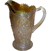 Imperial Glass Merigold  Fieldflower Carnival Glass Pitcher