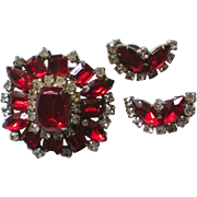 Large Brilliant Ruby Red Brooch and Clip Earrings Set