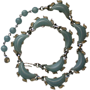Signed Kramer Baby Blue Thermoset Necklace