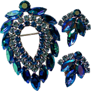 Sarah Coventry Book Piece Blue Lagoon Brooch & Earring Set