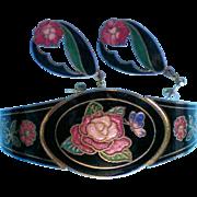 Cloisonne Bracelet with Pierced Cloisonne Earrings