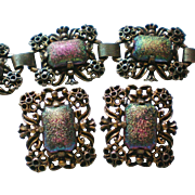 Judy Lee Iridescent Glass Chunky Bracelet and Matching Clip Earrings