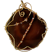 Dark Amber Brown Stone Wire Wrapped Pendant