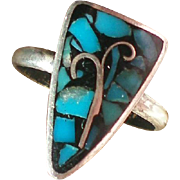 Native American Turquoise Silver Inlay Ring