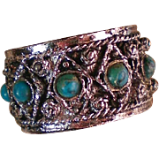 Wide Band Faux Turquoise Ring