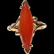 Avon Orange Glass Stone Ring