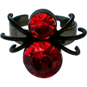 Red and Black Widow Spider Halloween Ring