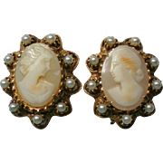 Hand Carved Shell Cameo Clip Earrings