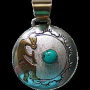 Kokopelli Gold, Silver, Turquoise Pendant by Navajo Robert Johnson