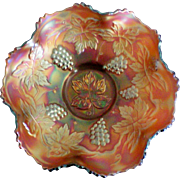 Fenton Medium Amberina Grape Cluster Bowl