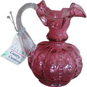 Fenton Country Cranberry Beaded Melon Jug or Pitcher