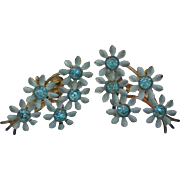 Blue Metal Daisy Cluster Screw Back Earrings