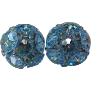Faceted Blue Glass Bead Cluster Clip Earrings