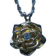 AVON Rose with Rhinestone Pendant Necklace