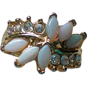 Opal Glass Rhinestone Ring – Size 5